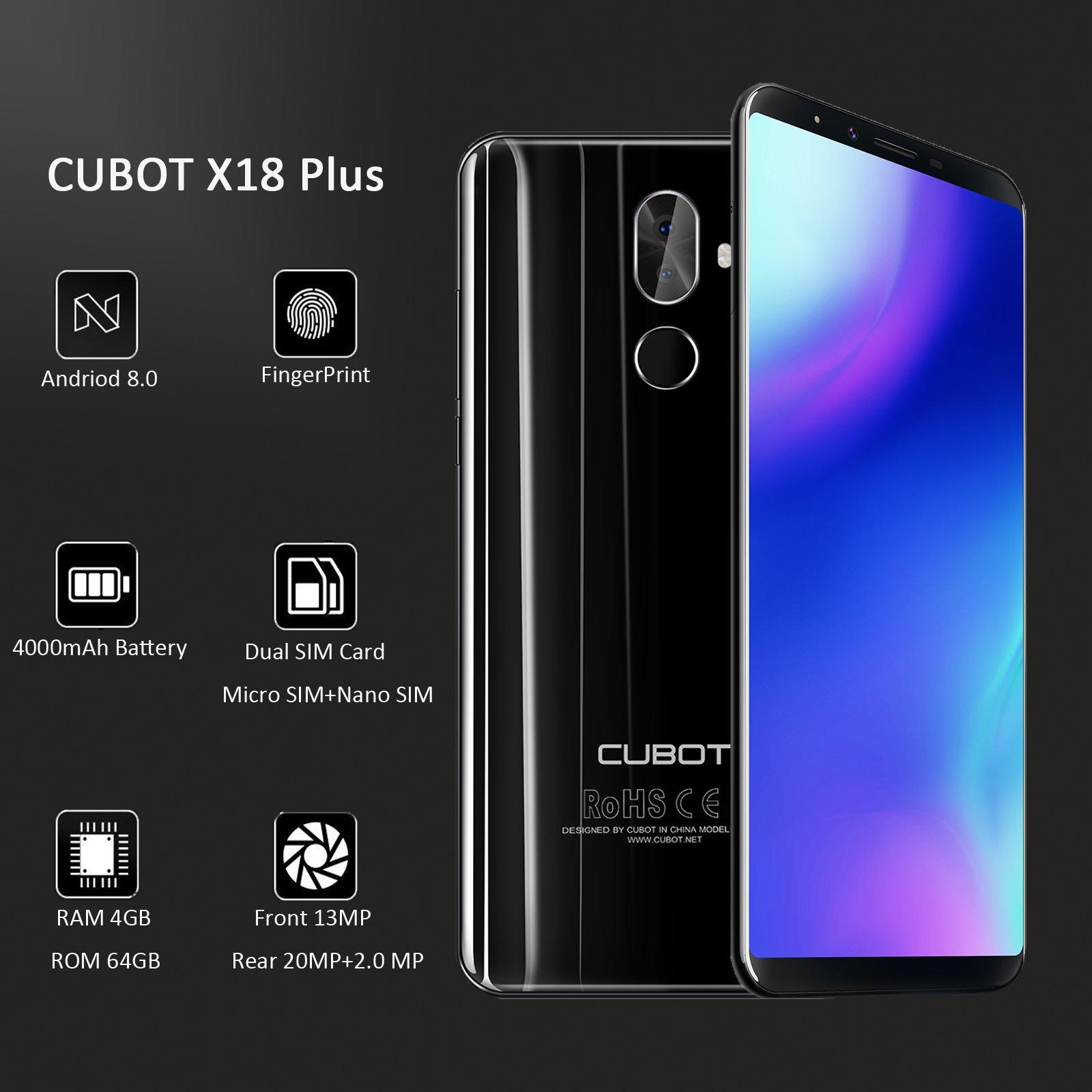 Cubot X18 Plus 5,99 pulgadas Desbloqueado 4 G Smartphone, FHD ...