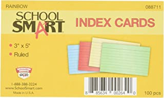 School Smart 90# Ruled Index Card, 3 x 5 Inches, Assorted Colors, Pack of 100