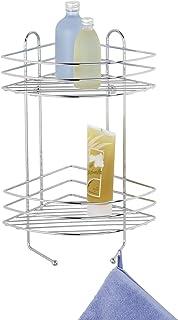 WENKO Etagère d'angle salle de bains à 2 niveaux - 2 étagères, 2 crochets, Acier, 23 x 43 x 30.5 cm, Chromé