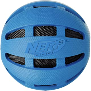 Nerf Dog Crunch and Squeak Rubber Ball Dog Toy, Medium/Large, Blue