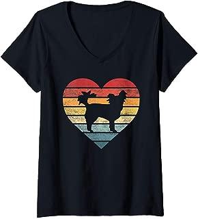 Womens Papillon Lover Owner Gifts Retro Sunset Dog Silhouette Mom V-Neck T-Shirt