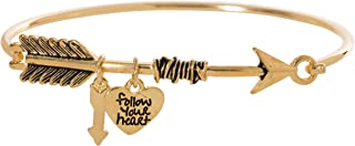Artisan Owl Follow Your Heart Charm Arrow Bangle Bracelet