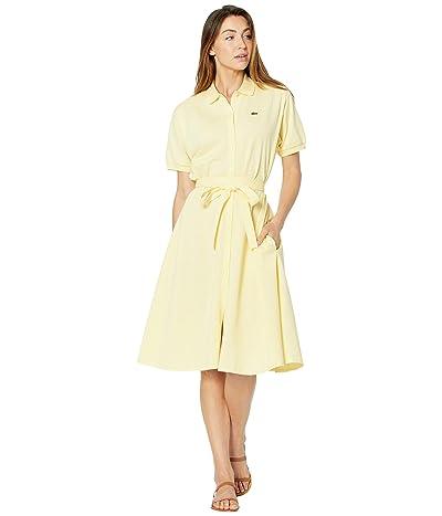 Lacoste Short Sleeve Button Through Belt Pique Dress (Custard Yellow) Women