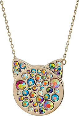 Multi-Stone Pave Cat Pendant Necklace