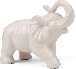 Milltown Merchants&Trade; Elephant Figurine - Ceramic Elephant - Elephant Decor - White Ceramic Elephant Statue (Large - 9
