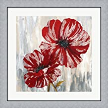 Red Poppies II by Willow Way Studios, Inc. Framed Art Print Wall Picture, Flat Silver Frame, 28 x 28 inches