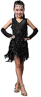 Forgrace Girls Sparkling Sequin Tassels Latin Rumba Salsa Performance Dancing Dress