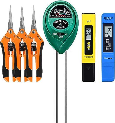 high quality VIVOSUN PH Meter, TDS popular and EC Meter, Soil Tester Combo and 3-Pack 6.5 Inch Gardening Hand sale Pruner online