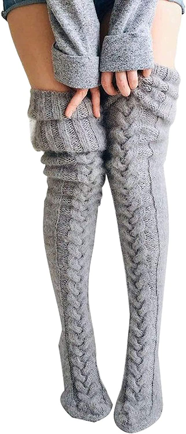 Women Cable Knit Thigh High Tights Over Knee Socks Winter Casual High Stockings