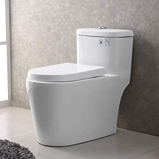 Mecor One-Piece Toilet Siphon Dual Flushing,Soft Closing Quick Release Seat 0.8/1.28Gpf,Cotton White. (27.6