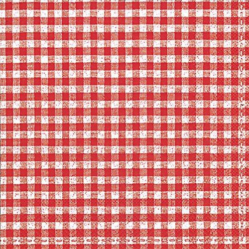Idéal à Domicile Gamme 20-Count 3 Plis Serviettes en Papier, Vichy Bavière Rouge, Papier, Multicolore