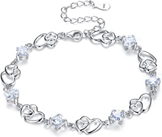 "EleQueen Women's S925 Sterling Silver CZ Double Love Open Heart Tennis Bracelet, 6.9""+1.2"" Extender"