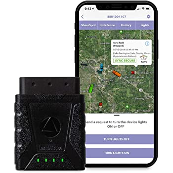 No Monthly Fee - LandAirSea Sync Real Time 4G LTE GPS Tracker for Vehicles OBD Tracking Device for Cars, Trucks or Fleets, 1 Year Data Plan Included