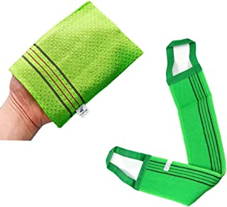 Songwol Exfoliating 4 Pcs Bath Washcloth, 1 Pcs Back Scrub (Green)