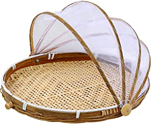 Hand-Woven Food Serving Tent Basket Nature Bamboo Kitchen Serving Food Fruit Baking Tent Basket Mesh Tent Basket with Gauze