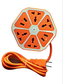 Surge-Protected Power Strip, CFStore@ Smart 4-Outlet with 4-USB Hexagon Creative Surge Protector Power Socket with 6ft Cord for Home/Office (KB-6JPC-OR)