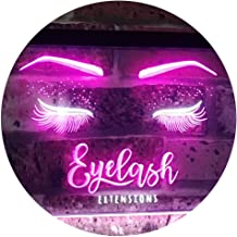 Eyelash Extension Beauty Salon Indoor Decoration Dual Color LED Neon Sign White & Purple 400 x 300mm st6s43-i1089-wp