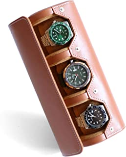 Besforu Watch Box Organizer for Mens Watch case Travel roll Portable 3 Watch Display Storage with Velvet Sections to Holde...