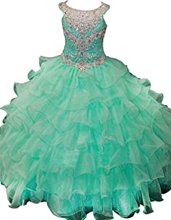 Hong Little Girls Tiered Glitz Pageant Dress Lace-up Back Ball Gowns