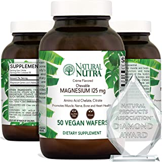 Natural Nutra Chewable Magnesium Supplement with Citrate and Chelate for Kids and Adults, Best Pure Mag Chew for Muscle, N...