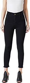 Miss Chase Women's Super Stretchable Black Skinny High Rise Cropped Denim Jeans