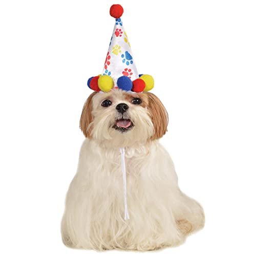 Rubies Red Blue Birthday Boy Paw Prints Clown Hat For Pet Dog