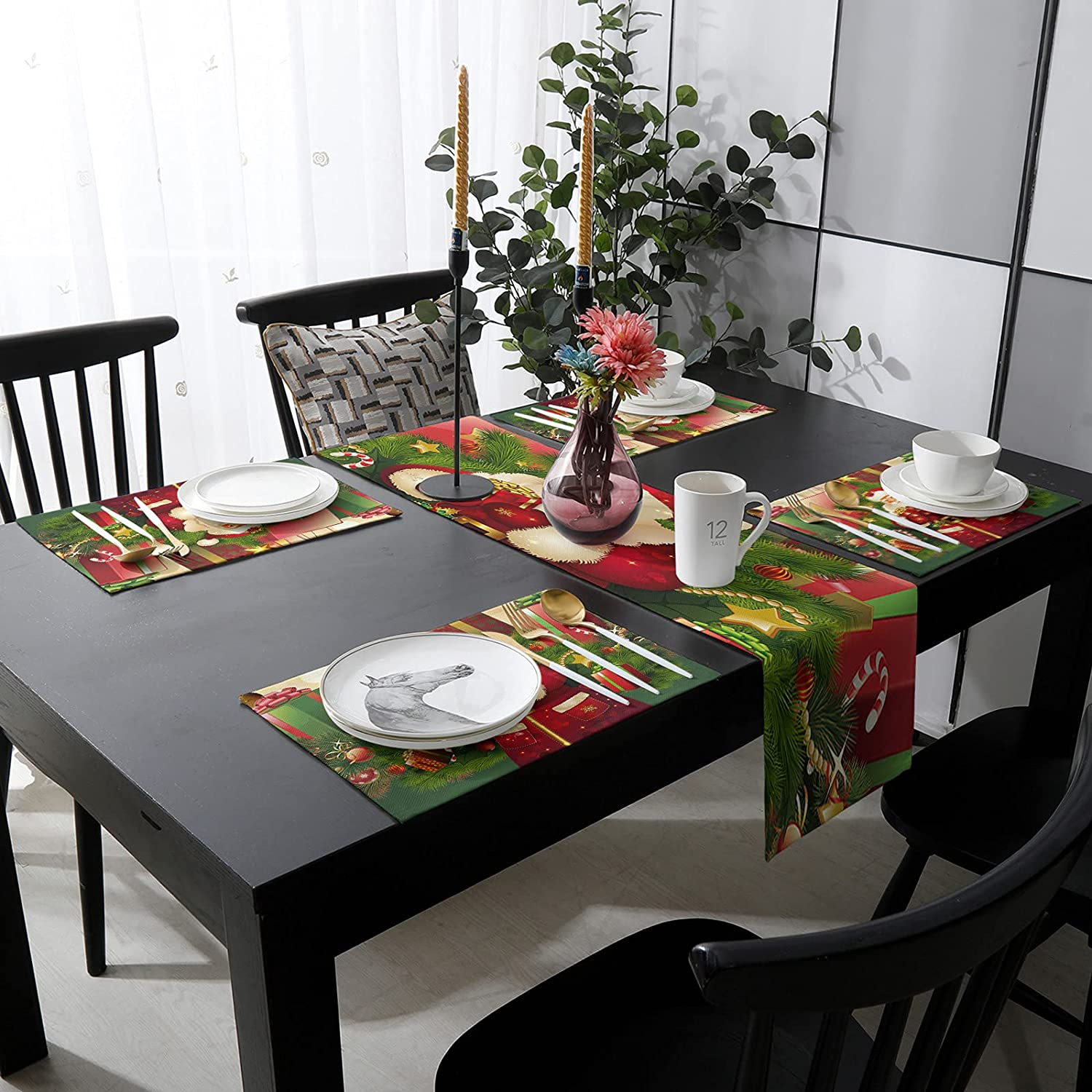 Max 79% OFF Womenfocus El Paso Mall Outdoor Table Runner and Heat-Pr Kitchen 6 Placemats