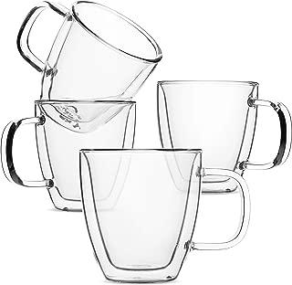 BTäT- Espresso Cups, Espresso Coffee Cups, Set of 4 (5 oz, 150 ml), Glass Coffee Mugs, Double Wall Glass Cups, Cappuccino Cups, Latte Cups, Latte Mug, Clear Coffee Cup, Espresso Glass, Glass Tea Cups