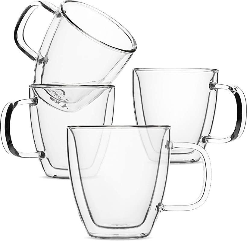 BT T Espresso Cups Espresso Coffee Cups Set Of 4 5 Oz 150 Ml Glass Coffee Mugs Double Wall Glass Cups Cappuccino Cups Latte Cups Latte Mug Clear Coffee Cup Espresso Glass Glass Tea Cups