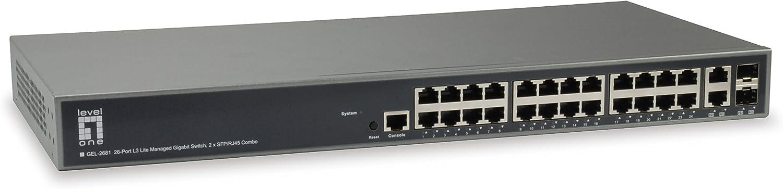 LEVEL 1 ONE GEL-2681 26-Port L3 Lite Managed Gigabit Switch, 2 x SFP/RJ45 Combo (GEL-2681 26-Port L3 Lite Managed Gigabit Switch, 2 x SFP/RJ45 Combo)