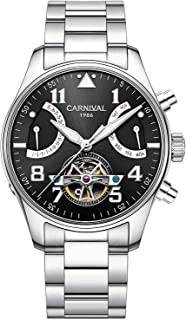 Carnival Mens 8783 Automatic Watch Dress Watch Analog Luminous Stainless Steel Watch Day Date Watch
