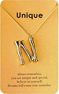 Flowetry 26 Letter Initial Pendant Necklace Gold Filled 3D Bamboo 26 Alphabets Letter Necklace Gift Message Card for Women