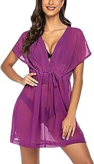 Avidlove Women's Sexy Chiffon Swimsuit Cover Ups Sheer Bikini Plus Blouse Purple Medium