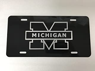 Diamond Etched University of Michigan Logo Car Tag on Aluminum License Plate