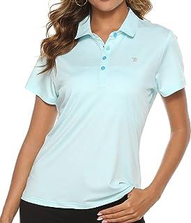 TBMPOY Women's Golf Polo T Shirts Lightweight Moisture Wicking Short Sleeve Shirt Quick Dry 4-Button Sky Blue S