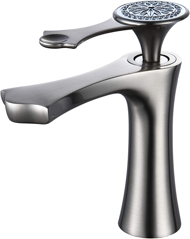 Basin Mixer Tap Single Handle 1 Hole Deck Tap for Bath Brushed Nickel Leekayer,LK6685N