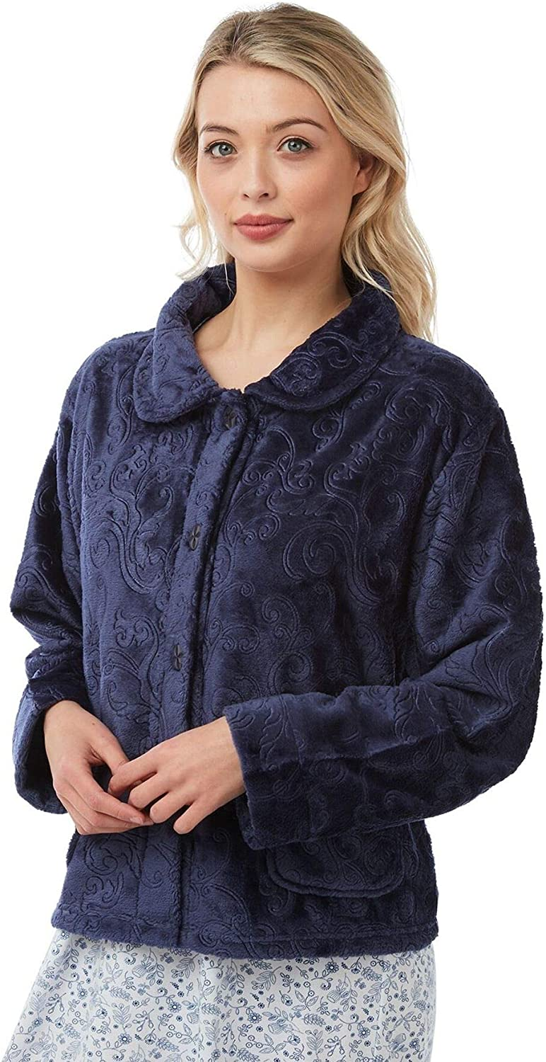 con zip Robe 6623 Donne Zip Up Soft Feel pile in rilievo vestaglia
