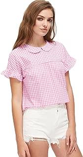 Women's Cute Striped Peter Pan Collar Short Sleeve Babydoll Blouse Top