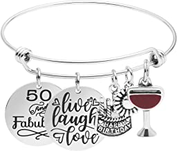 MEMGIFT Birthday Gifts for Women 13th 16th 18th 21st 30 40 50 60 65 70 80 90 Fabulous Live Laugh Love Cake Charms Expandable Bracelet Gift Jewelry for Her