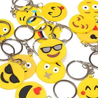 DERAYEE Emoji Keychain, Smile Emoji Rubber keyring, Birthday Party Favors Supplies for Bag Fashion Accessories (16-pack)