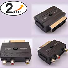 RGB Scart Male to 3 RCA Av Female Connectors Plug Adaptor Converter for Tv DVD VCR (Non S-Video Model) Converter Connector Splitter Joiner Multiplier [2 Pieces][20050][TOTUMY]