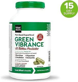 Vibrant Health, Green Vibrance, Vegetarian Superfood Capsules with Over 70 Ingredients, 25 Billion Probiotics, 240 capsules (15 servings) (FFP)