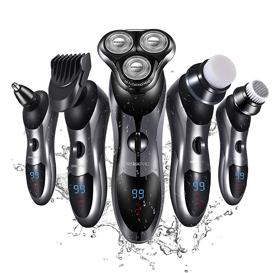 Electric Razor for Men 5 in 1 Rotary Shaver Cordless Hair Clippers Nose Trimmer Electric Shaver Wet&Dry Waterproof USB Fast Charging