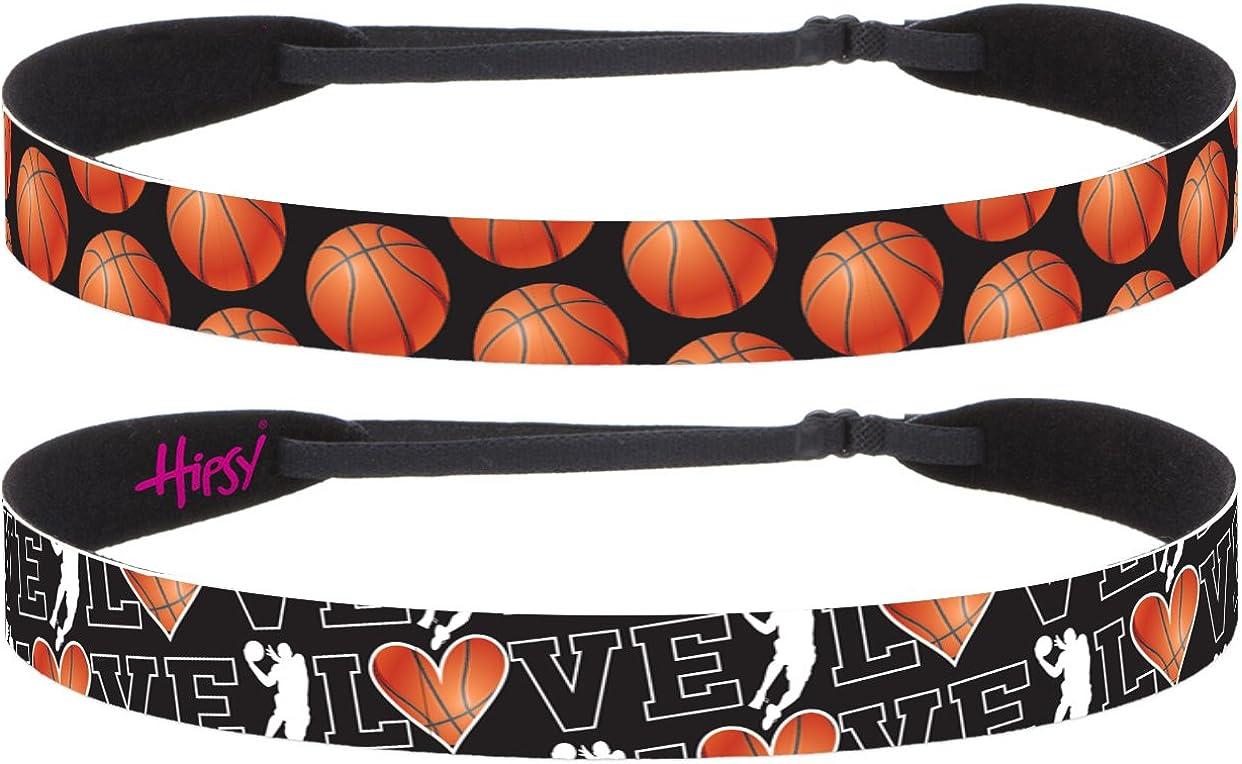 Hipsy Adjustable No Slip I Love Basketball Headbands for Women Girls & Teens