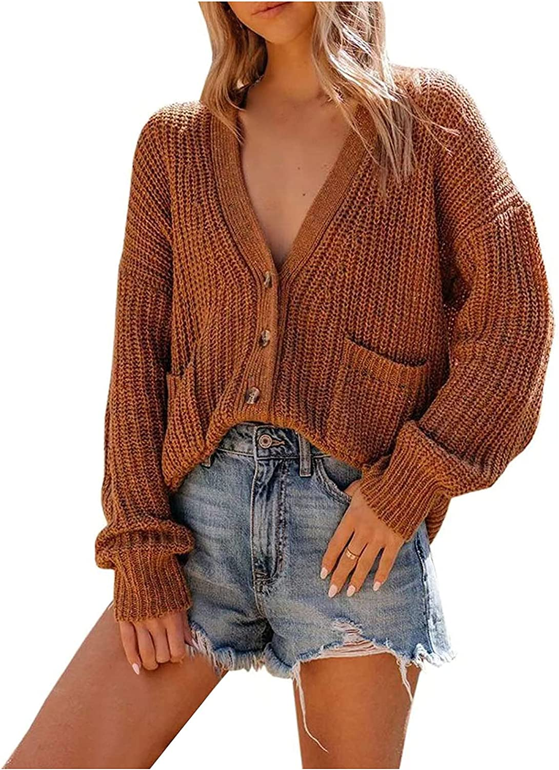wodceeke Sweaters Max 40% OFF for Women New Shipping Free Womens V Cro Button Cable Neck Knit