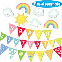 Big Sunshine Rainbow Clouds Happy Birthday Banner Party Set Color Pennants Garland for Baby Shower Birthday Decorations Bunting Supplies