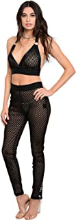 Imaginary Diva Women's Sexy Black Mesh Sheer See Through Two Piece Halter Top Pants Jumpsuit
