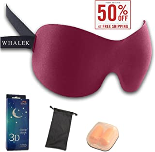 Sheng Da Soft Memory Foam Deep Molded Sleep Mask, with Ear Plug and Carry Pouch Light Weight and Comfortable Eye Mask (Red)