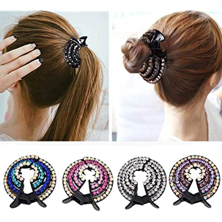 Fermagli per capelli a coda di cavallo e crocchia, da donna, con strass, 4 pezzi