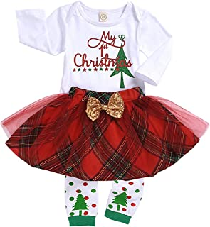 Toddler Baby Girls Outfits My 1st Christmas Tree Romper+Chiffon Red Plaid Tutu Skirt+Leggings Clothing Set